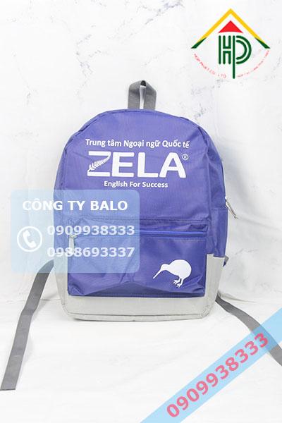 Mặt trước balo trung tâm ngoại ngữ quốc tế Zela